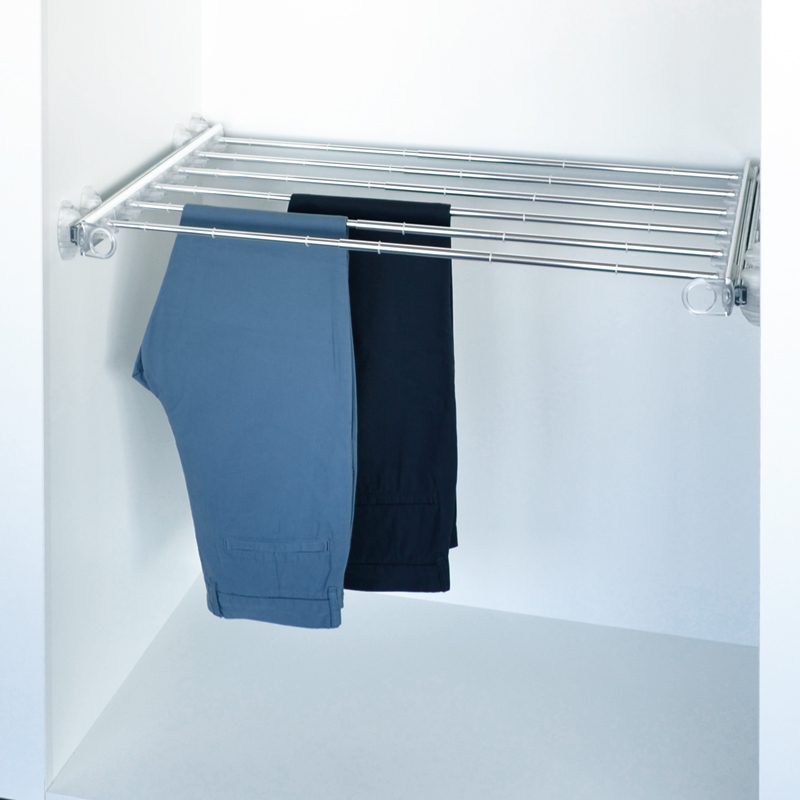 Pull-out width adjustable trousers rack transparent-bright aluminium 1