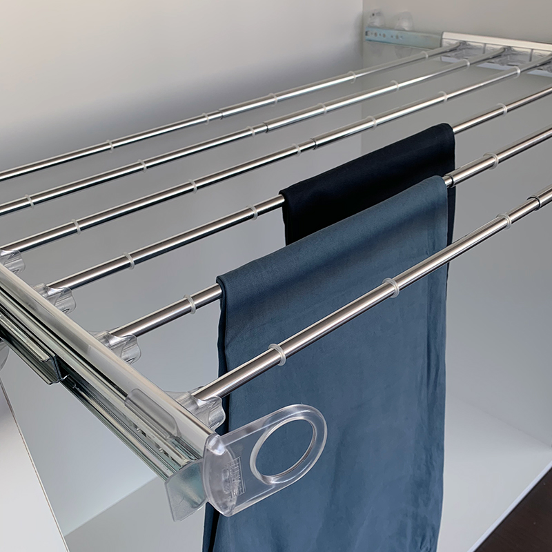 Pull-out width adjustable trousers rack transparent-bright aluminium 3