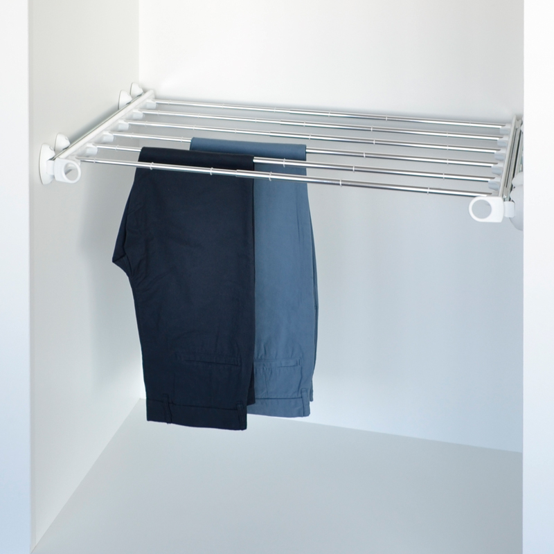 Pull-out width adjustable trousers rack white - bright aluminium 1