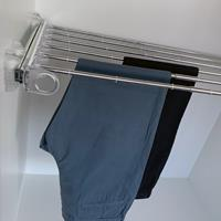 Pull-out width adjustable trousers rack transparent-bright aluminium 2