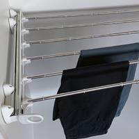 Pull-out width adjustable trousers rack white - bright aluminium 2