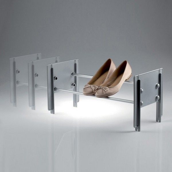 Cip stackable shoe rack grey - satin aluminium