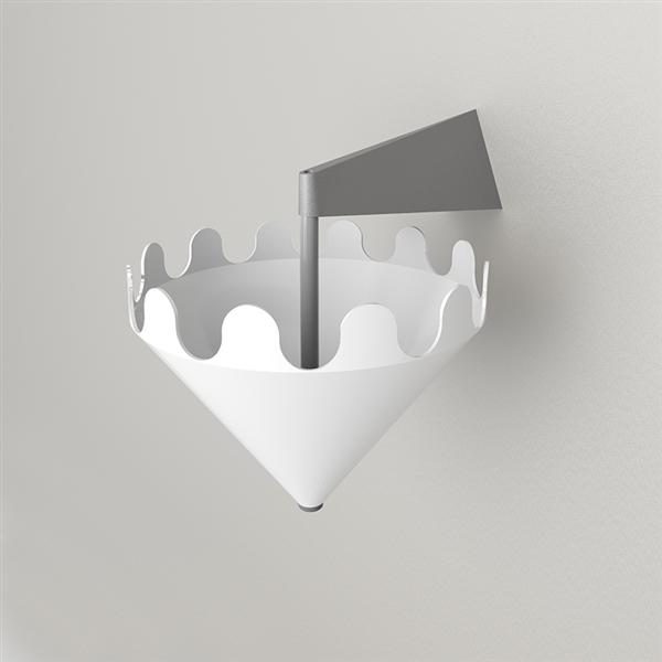 Fiocco bianco lucido - supporto a parete grigio opaco