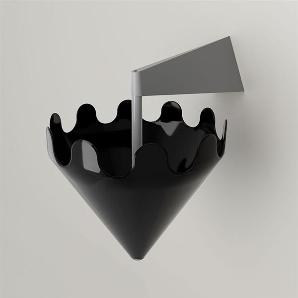 Fiocco schwarz glänzend - Wandhalterung grau matt