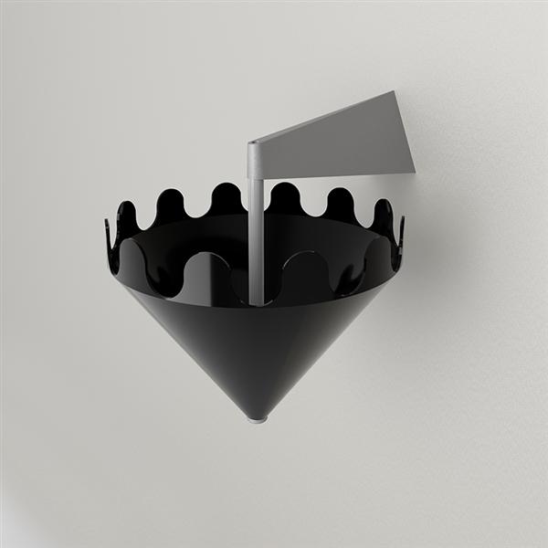 Fiocco nero lucido - supporto a parete grigio opaco