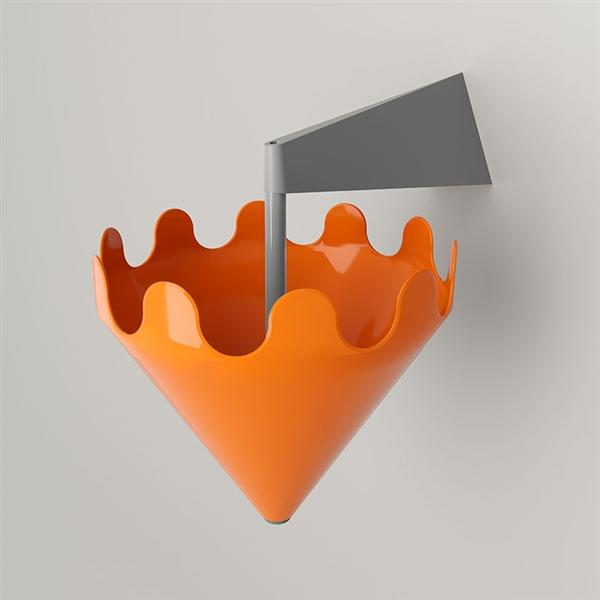 Fiocco orange brillant - support mural gris mat