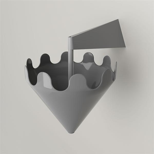 Fiocco grigio lucido - supporto a parete grigio opaco