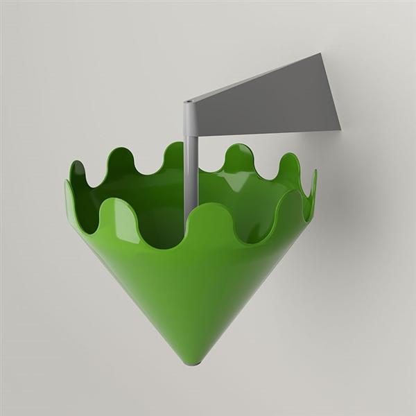 Fiocco grün glänzend - Wandhalterung grau matt