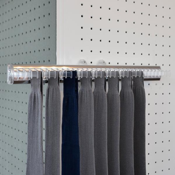Portacravatte estraibile - 32 ganci - trasparente-alluminio lucido