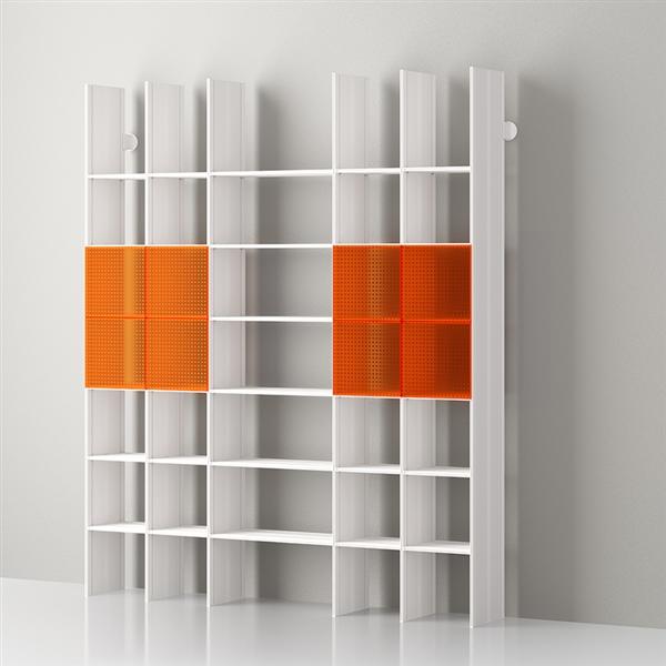 Mas 35 Libreria modulare in alluminio di Servetto - alluminio-opale arancione