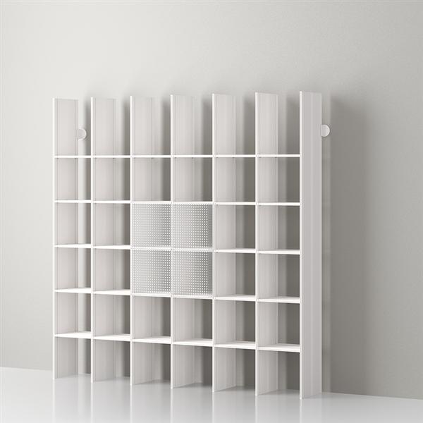 Mas 36 Modulares Bücherregal aus Aluminium von Servetto - aluminium-Opalweiß