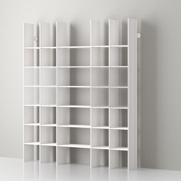 Mas 35 Bibliothèque modulaire en aluminium par Servetto - aluminium - blanc opale