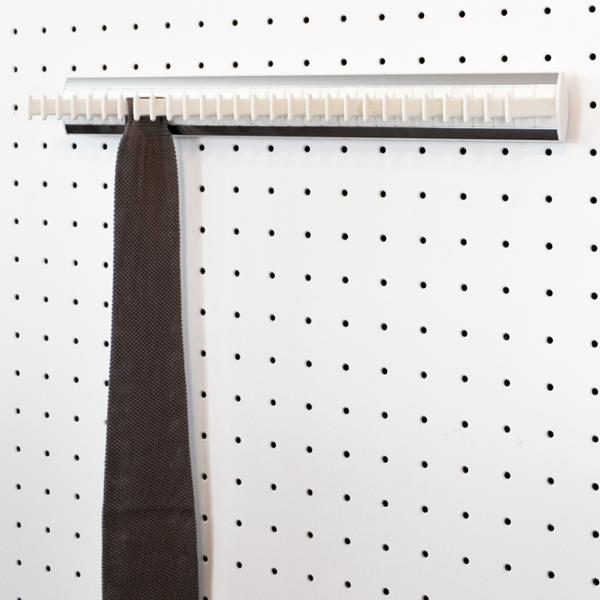 Porte-cravates fixe - 28 crochets - blanc-aluminium satiné