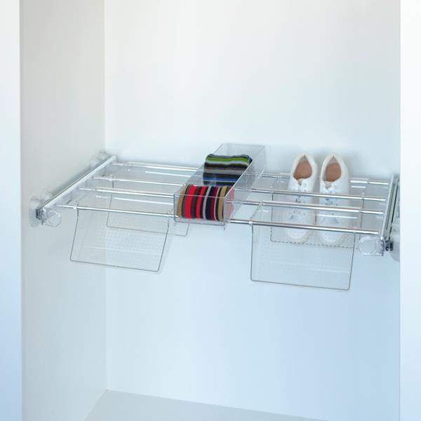 Plus - Shoe rack 4V+1J - transparent - bright aluminium - transparent polycarbonate