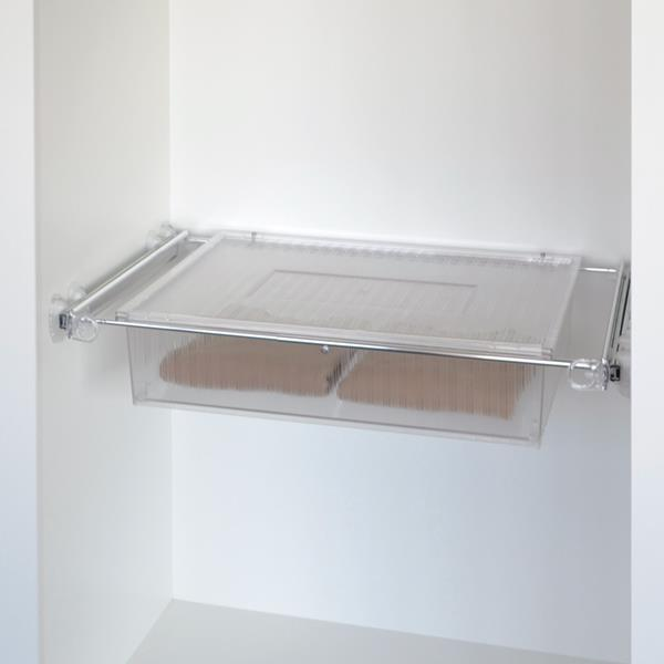 Roomy drawer box - transparent - bright aluminium - transparent polycarbonate