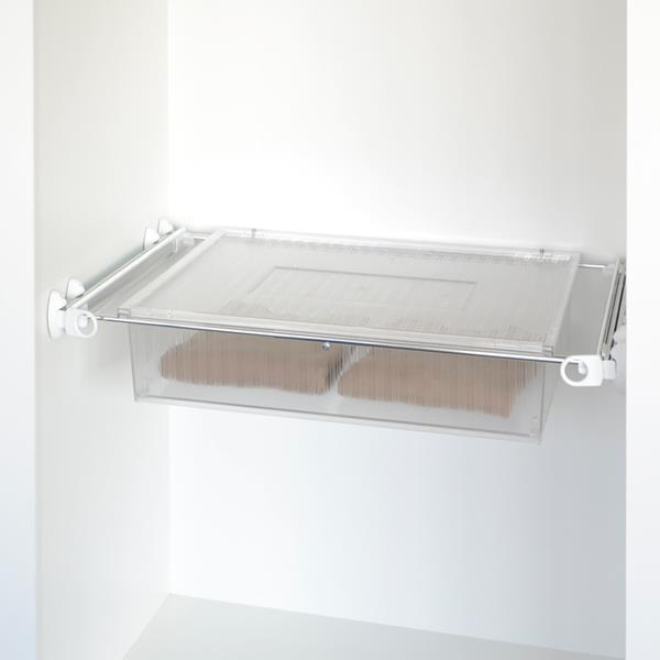 Roomy drawer box - white - bright aluminium - transparent polycarbonate