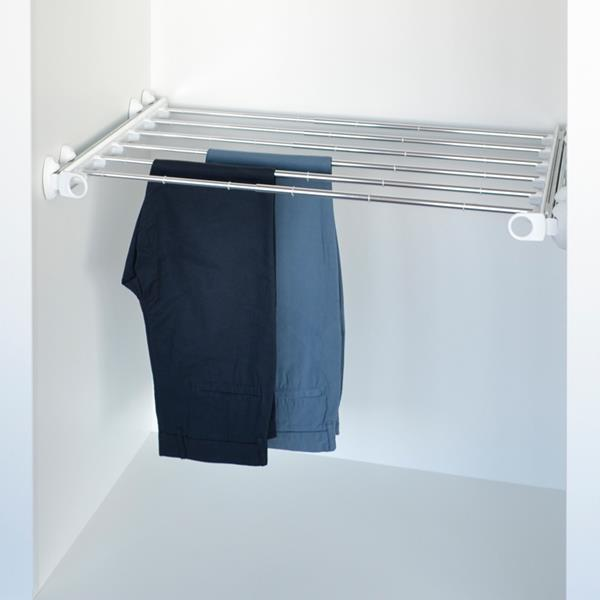 Pull-out width adjustable trousers rack white - bright aluminium