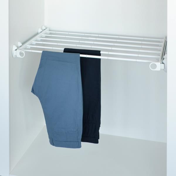 Pull-out width adjustable trousers rack white - white