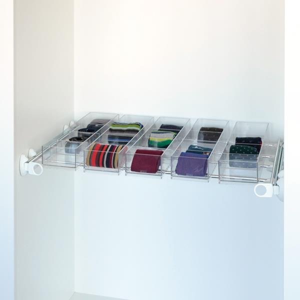 Plus - Porte-objets 5J - blanc - aluminium brillant - polycarbonate transparent