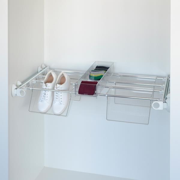 Plus - Schuhhalter 4V+1J - weiss - Aluminium glänzend - Polycarbonat transparent