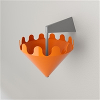 Fiocco arancione lucido - supporto a parete grigio opaco