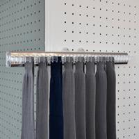 Pull-out tie rack - 32 hooks - transparent-bright aluminium