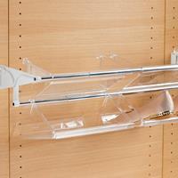 Tac portascarpe estensibile con 4 vaschette - bianco-alluminio lucido
